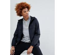 Leichte Shell-Jacke mit Kapuze und Logo in Schwarz