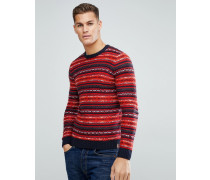 Pullover mit Norwegermuster in Rot