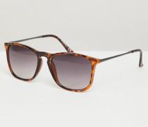 Eckige Sonnenbrille in Dunkelbraun