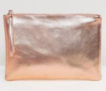 Clutch-Tasche mit Metallic-Optik in Roségold