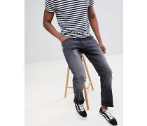 Gerade geschnittene Jeans aus Bio-Baumwolle in verwaschenem Schwarz