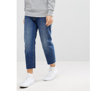 Otis - Kurz geschnittene Jeans mit unverarbeitetem Saum in Mittelblau