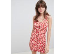 Minikleid aus Jersey mit Blumenprint und Knöpfen vorn