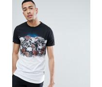 TALL - T-Shirt mit verblichenem Totenkopf- und Rosen-Print