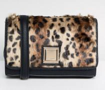 Tasche aus Kunstfell mit Leopardenmuster und Kettenriemen