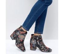 Ankle-Boots mit Absatz und Jacquard-Blumenmuster