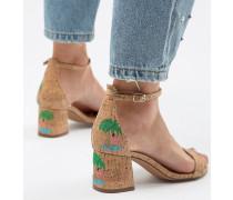 Sandalen mit mittlerer Absatzhöhe und Flamingo-Stickerei
