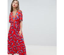 Exklusives Jersey-Kleid im Wickeldesign mit Tulpenmuster