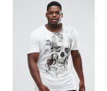 PLUS - Lang geschnittenes T-Shirt mit rauchendem Totenkopf-Print