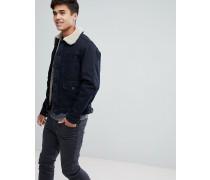 Jeansjacke mit Teddyfell-Futter