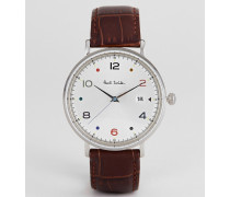 PS0060002 Gauge colour leather watch in black 41mm