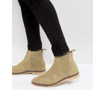 Chelsea-Stiefel aus steingrauem Wildleder mit Natursohle