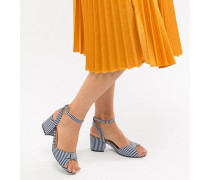 Gestreifte Sandalen mit Blockabsatz