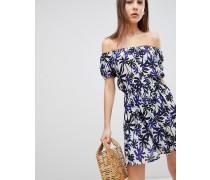 Zora - Schulterfreies Kleid mit Palmenmuster