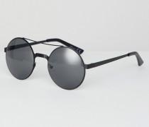 Runde Sonnenbrille mit Brauensteg in Schwarz