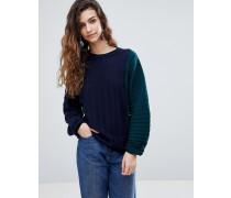 Gerippter Pullover mit Farbblock-Design