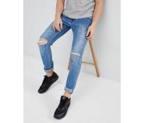 Clark - Schmale Jeans mit Knierissen und Destroyed-Optik in Hellgrau