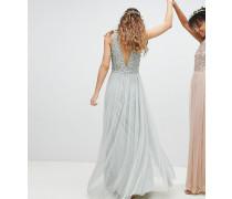 Ärmelloses Brautjungfern-Maxikleid mit Paillettenoberteil Tüll und Rückenausschnitt