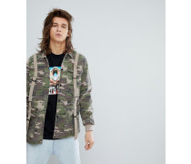 Trainerjacke in Camouflage im Military-Stil mit D-Ring