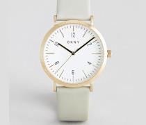 Vergoldete Silber-Armbanduhr in Netzoptik mit weißem Zifferblatt