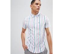 /Rosa gestreiftes schmales kurzärmliges Hemd mit Button-Down-Kragen und Waffelstruktur