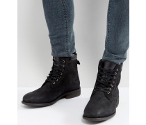 Derrian - Schnürstiefel aus schwarzem Leder
