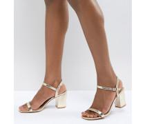 Sandalen in Gold mit Blockabsatz