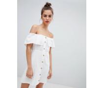 Weißes Kleid mit Knopfleiste vorn
