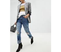 Boyfriend-Jeans im Used-Look