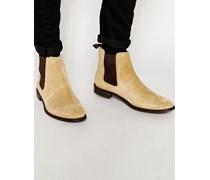 Chelsea-Stiefel aus steingrauem Wildleder mit Schlaufe hinten