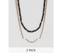 Halsketten mit schwarzen Perlen im 2er-Set