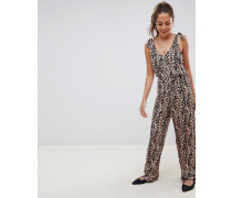 jumpsuit with tie strap detail in leopard print