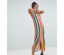 ASOS Gestreiftes T-Shirt-Maxikleid in Regenbogenfarben