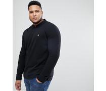 Big & Tall - Langärmliges schwarzes Pikee-Polohemd