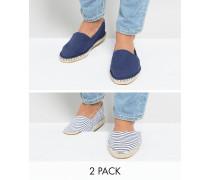 Espadrilles aus Segeltuch mit marineblauen und blauen Streifen im 2er Pack