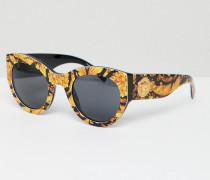 Katzenaugen-Sonnenbrille mit Schalaufdruck