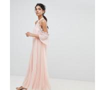 Plissiertes Swing-Kleid mit Schulterausschnitt