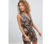 Minikleid mit Knoten auf der Vorderseite und Leopardenmuster