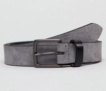Gürtel aus grauem Wildleder mit Kontrast-Schlaufe