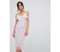 Schulterfreies Kleid mit Wimpernspitze