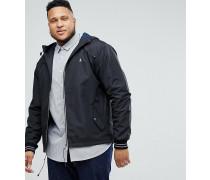 Big & Tall - Leichte Kapuzenjacke aus Polyester in Schwarz