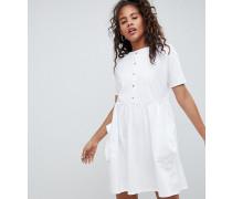 ASOS DESIGN Tall - Kurzes Hängerkleid mit Taschen und Knopfleiste