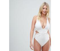 FULLER BUST - Hochwertiger Badeanzug mit Spitzenapplikation Cup E bis G