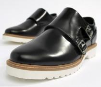 Monk-Schuhe in schwarzer Hochglanz-Optik