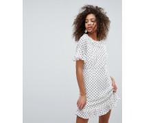 Kleid mit Punktmuster und Fransensaum