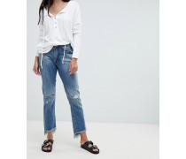 Gerade geschnittene Jeans mit hoher Taille Zierrissen und ungesäumten Kanten