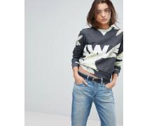Kurzes Sweatshirt mit durchgehendem Print