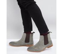 Chelsea-Stiefel aus grauem Wildleder weite Passform