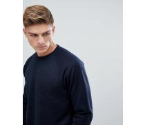 Sportliches Fleece-Sweatshirt in Marineblau mit Rundhalsausschnitt
