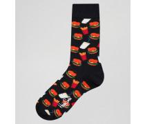 Socken mit Junk-Food-Print